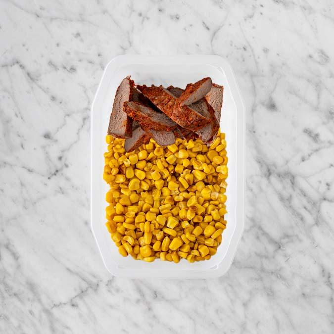 100g Smokey BBQ Steak 50g Corn 150g Corn