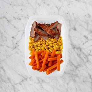 100g Smokey BBQ Steak 50g Corn 150g Honey Baked Carrots