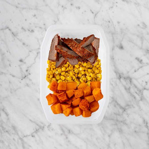 100g Smokey BBQ Steak 50g Corn 250g Rosemary Baked Sweet Potato