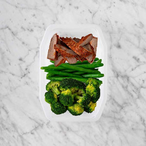 100g Smokey BBQ Steak 100g Green Beans 250g Broccoli
