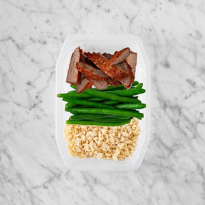 100g Smokey BBQ Steak 100g Green Beans 100g Brown Rice
