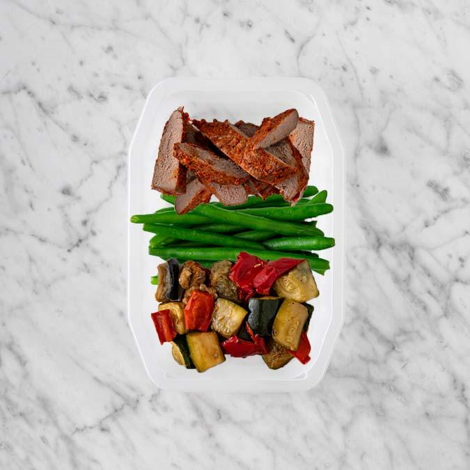 100g Smokey BBQ Steak 50g Green Beans 200g Char Veg