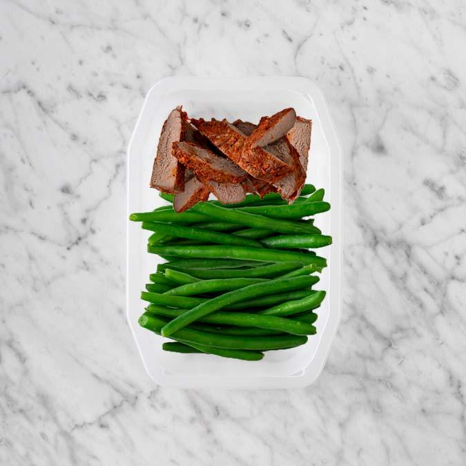 100g Smokey BBQ Steak 50g Green Beans 200g Green Beans