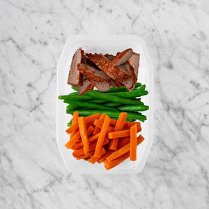 150g Smokey BBQ Steak 100g Green Beans 100g Honey Baked Carrots