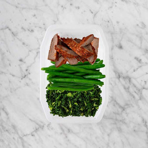 100g Smokey BBQ Steak 50g Green Beans 150g Kale