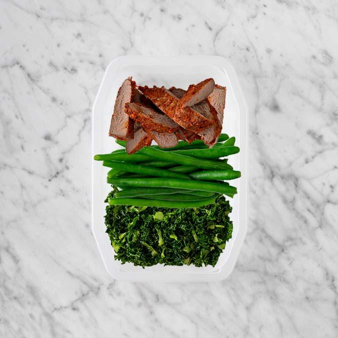 100g Smokey BBQ Steak 50g Green Beans 200g Kale