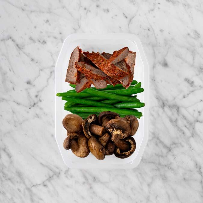 100g Smokey BBQ Steak 50g Green Beans 50g Mushrooms