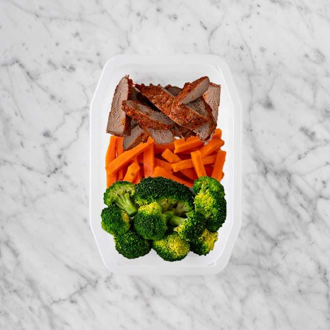 100g Smokey BBQ Steak 50g Honey Baked Carrots 200g Broccoli