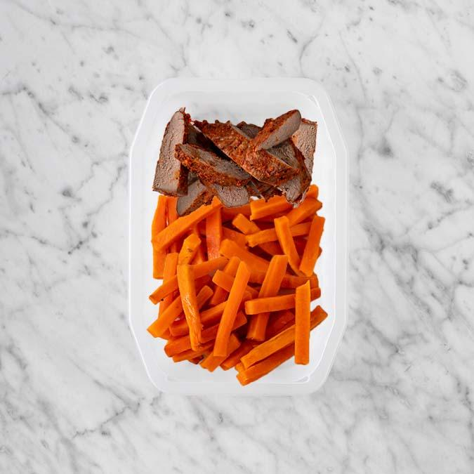 100g Smokey BBQ Steak 100g Honey Baked Carrots 200g Honey Baked Carrots