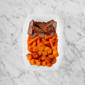 100g Smokey BBQ Steak 50g Honey Baked Carrots 50g Rosemary Baked Sweet Potato