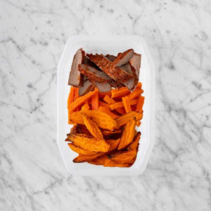 100g Smokey BBQ Steak 50g Honey Baked Carrots 100g Sweet Potato Fries
