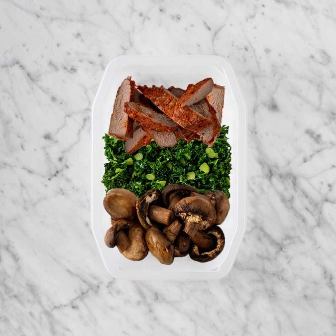 100g Smokey BBQ Steak 50g Kale 200g Mushrooms