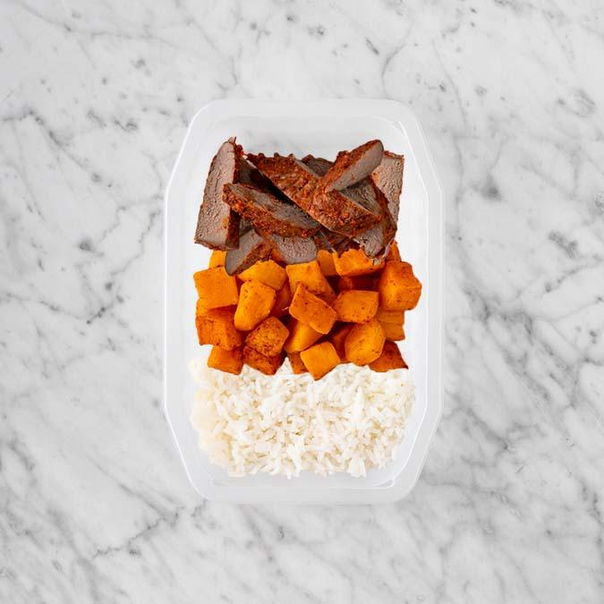 100g Smokey BBQ Steak 100g Rosemary Baked Sweet Potato 50g Basmati Rice