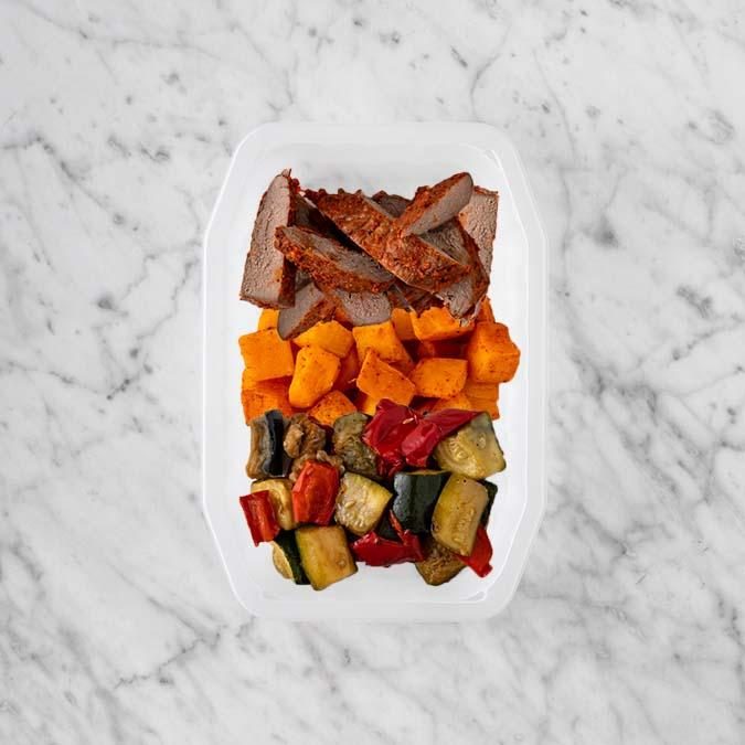 100g Smokey BBQ Steak 100g Rosemary Baked Sweet Potato 50g Char Veg