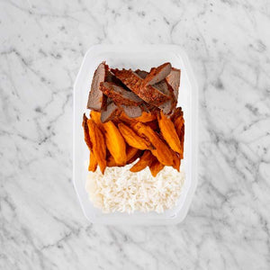 100g Smokey BBQ Steak 50g Sweet Potato Fries 200g Basmati Rice