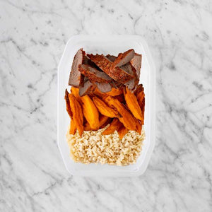 100g Smokey BBQ Steak 100g Sweet Potato Fries 100g Brown Rice