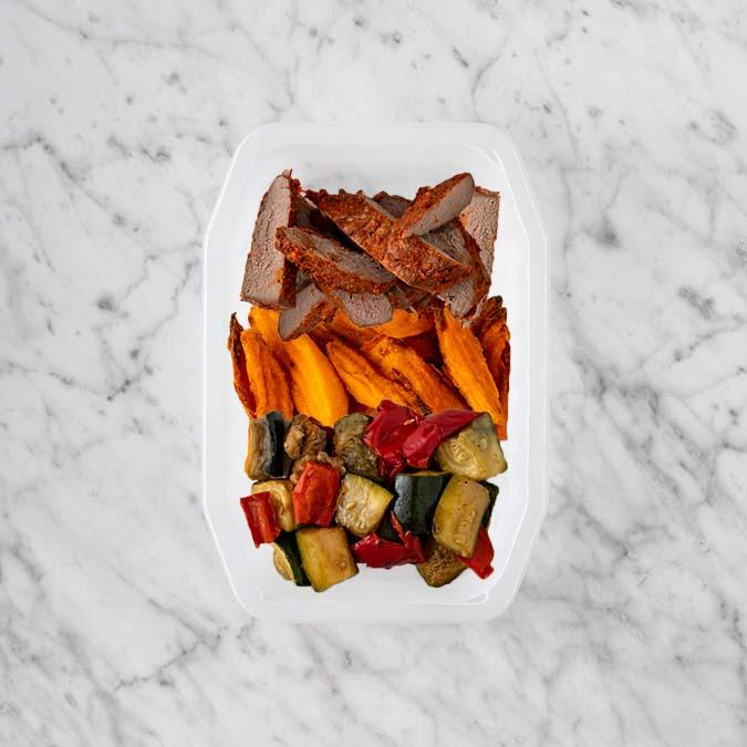 100g Smokey BBQ Steak 50g Sweet Potato Fries 200g Char Veg