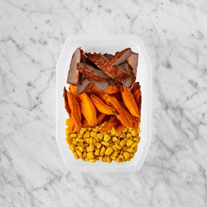 100g Smokey BBQ Steak 100g Sweet Potato Fries 250g Corn