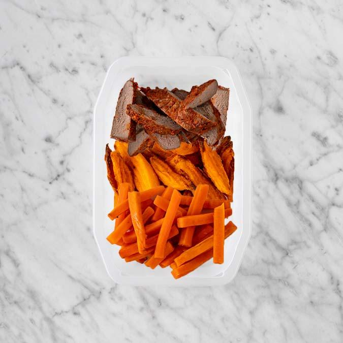 100g Smokey BBQ Steak 100g Sweet Potato Fries 200g Honey Baked Carrots