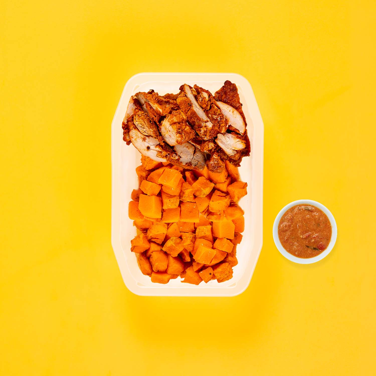 150g Chipotle Chicken Thigh 100g Rosemary Baked Sweet Potato 200g Rosemary Baked Sweet Potato Thai Red Curry