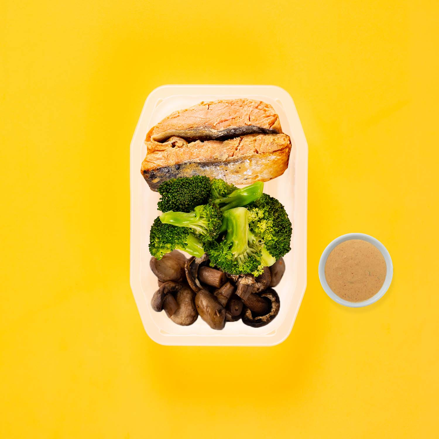 50g Miso Salmon 50g Broccoli 150g Mushrooms Butter Chicken Sauce