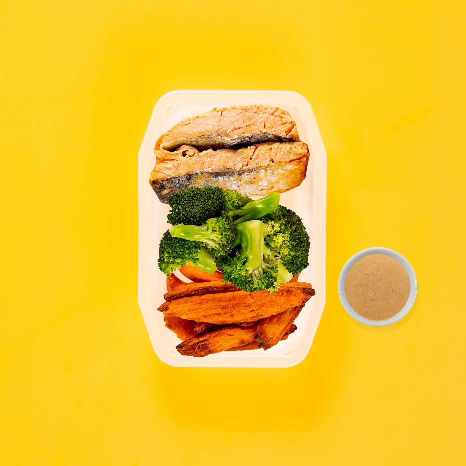 50g Miso Salmon 50g Broccoli 100g Sweet Potato Wedges Butter Chicken Sauce