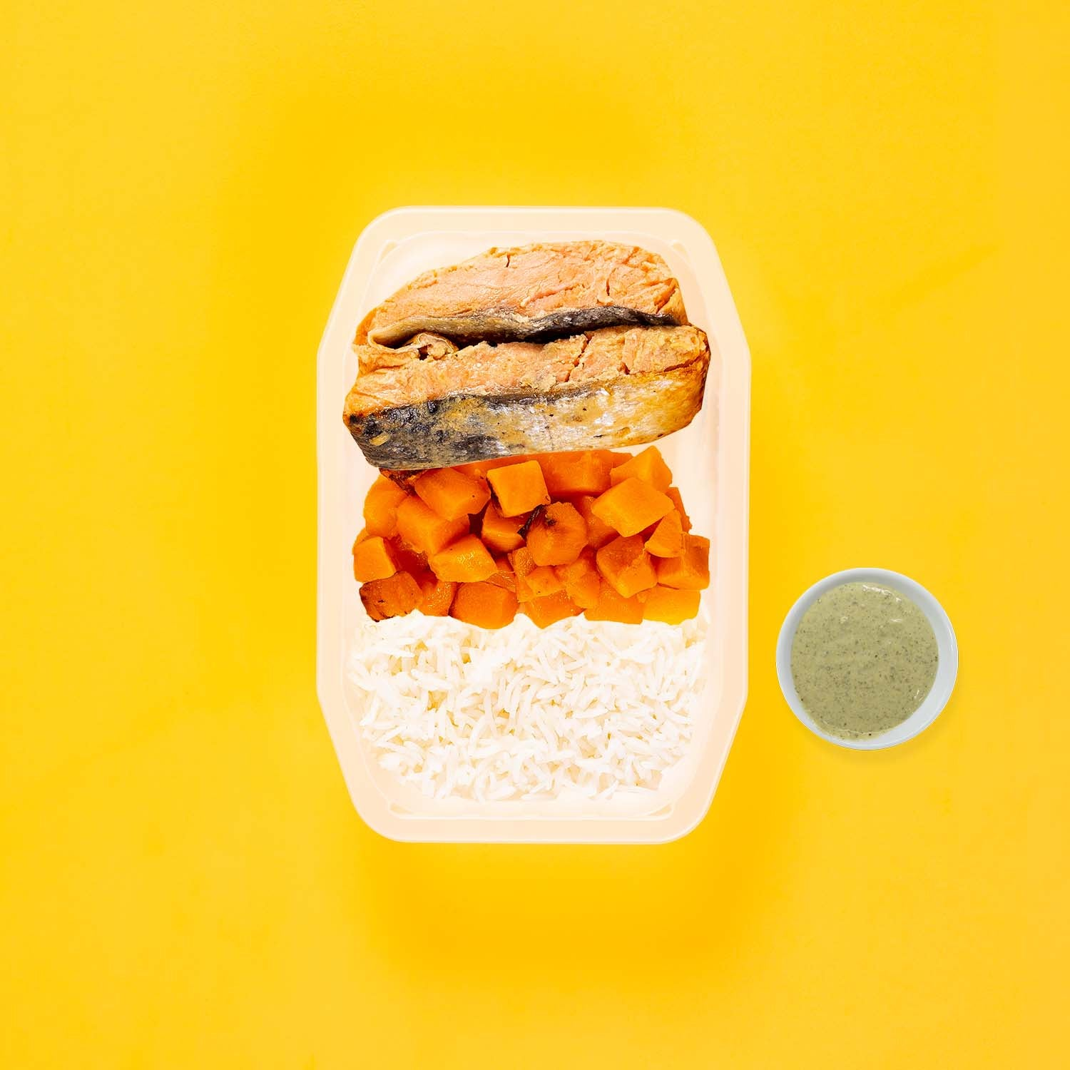 50g Miso Salmon 150g Coconut Pumpkin 100g Basmati Rice Pesto Cream