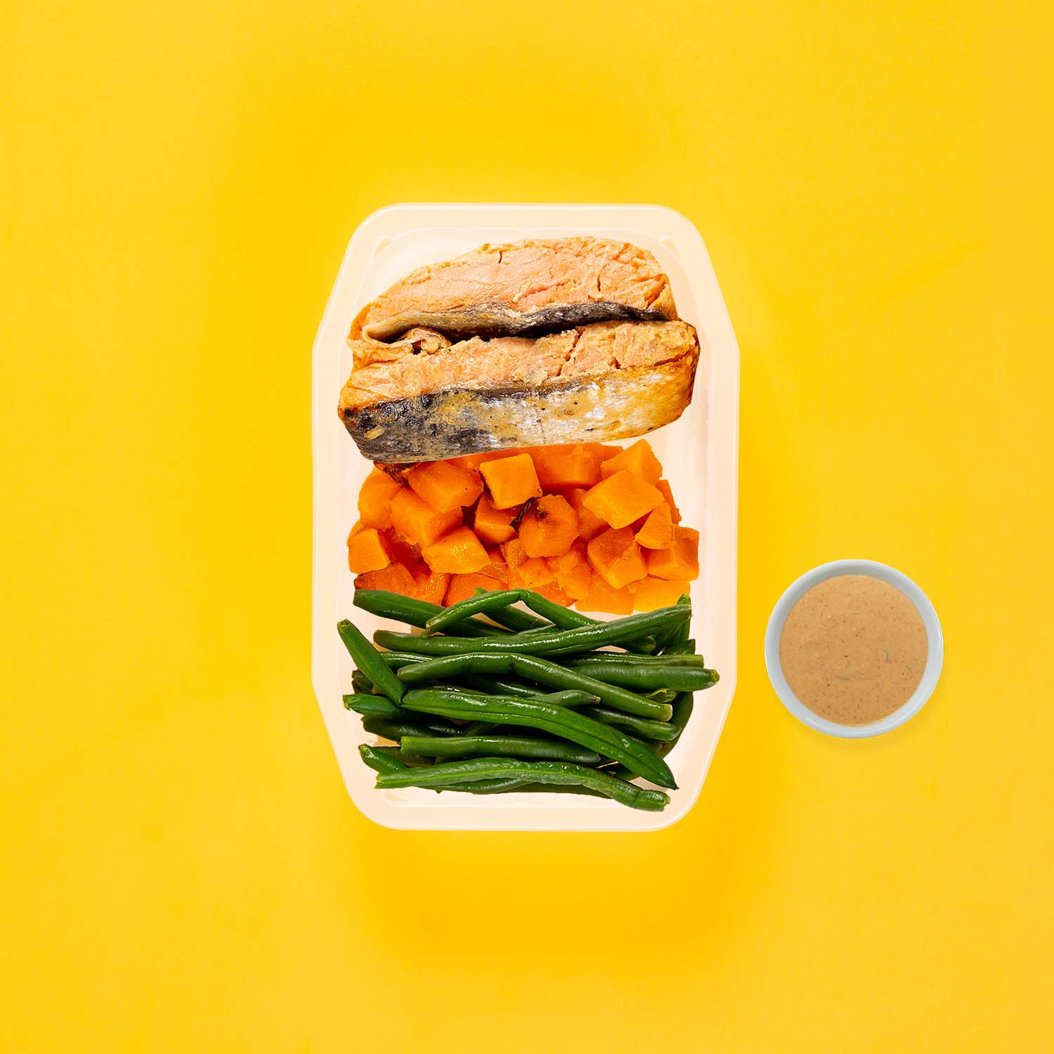 200g Miso Salmon 100g Coconut Pumpkin 100g Green Beans Butter Chicken Sauce