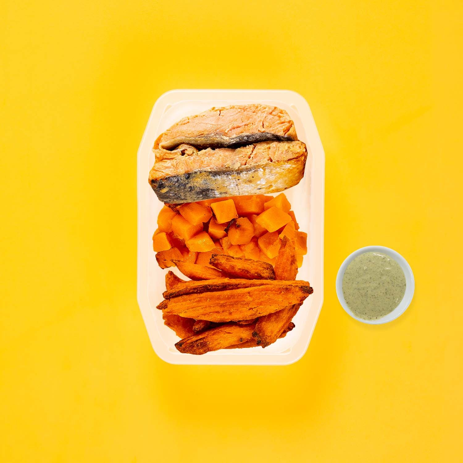 50g Miso Salmon 150g Coconut Pumpkin 150g Sweet Potato Wedges Pesto Cream