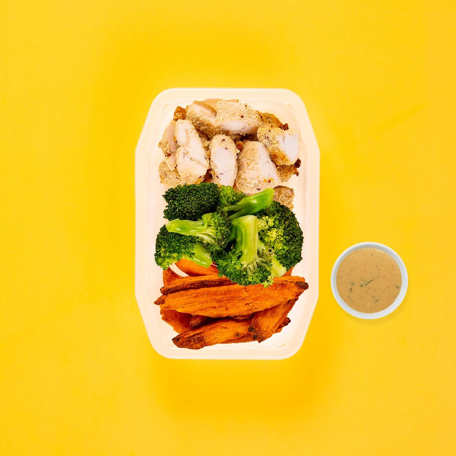 50g Quinoa Chicken Tenders 200g Broccoli 50g Sweet Potato Wedges Satay Sauce