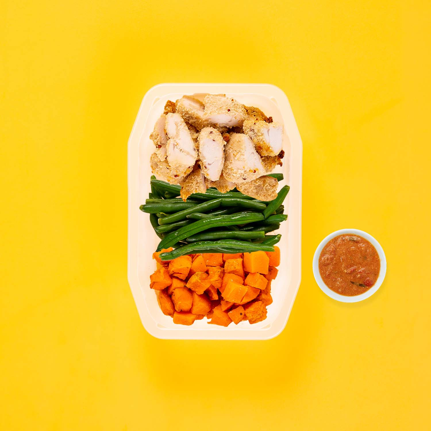 150g Quinoa Chicken Tenders 100g Green Beans 150g Rosemary Baked Sweet Potato Thai Red Curry