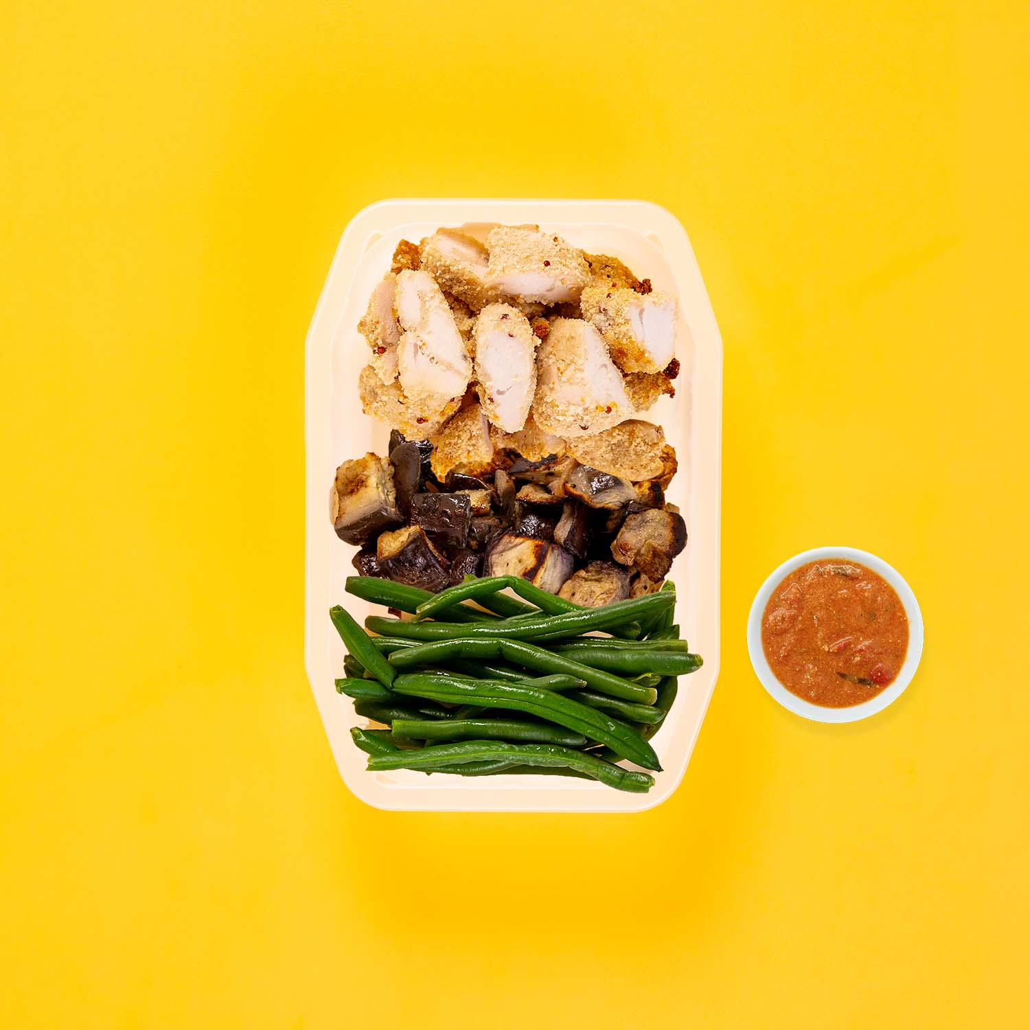 150g Quinoa Chicken Tenders 150g Miso Eggplant 50g Green Beans Thai Red Curry