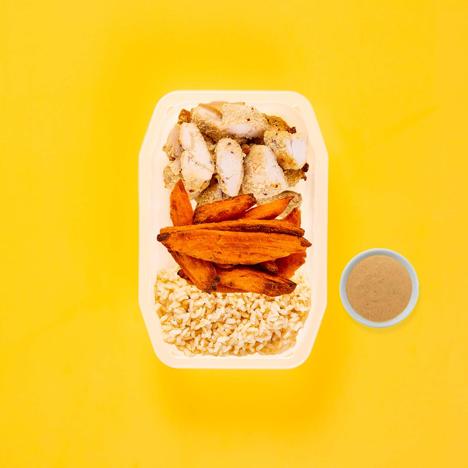 50g Quinoa Chicken Tenders 200g Sweet Potato Wedges 200g Brown Rice Butter Chicken Sauce