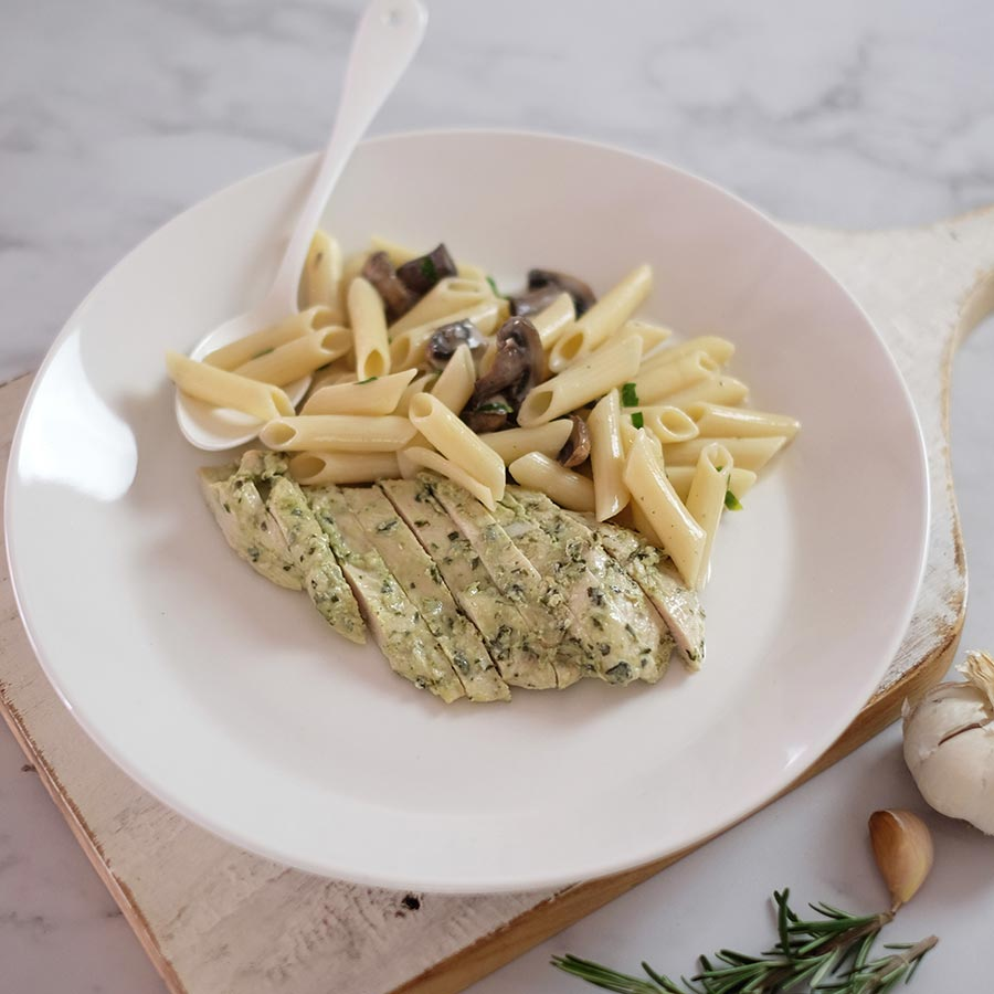 Chicken Mushroom Pasta: Light