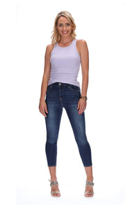 Honey Denim The Cormac High Waisted Jeans - Dark Blue