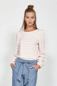 Leo+Be Stripe Ruffle Tee- Blush/ White