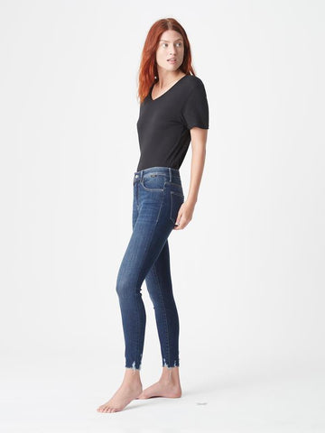 Mavi Tess High Rise Super Skinny - Dark Destroyed