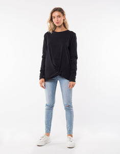 Silent Theory Long Sleeve Twisted Tee  Top- Black