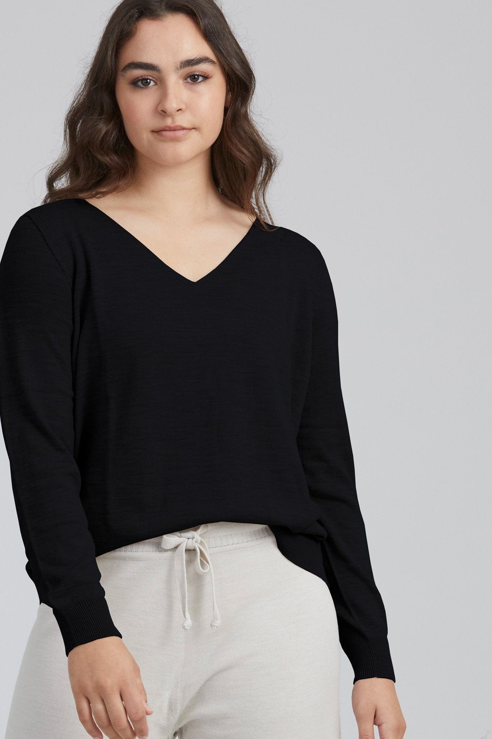 Standard Issue V Neck Slouchy Sweater | Black