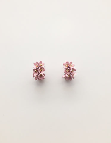 Stella + Gemma Flower Hoop Earrings - Blush