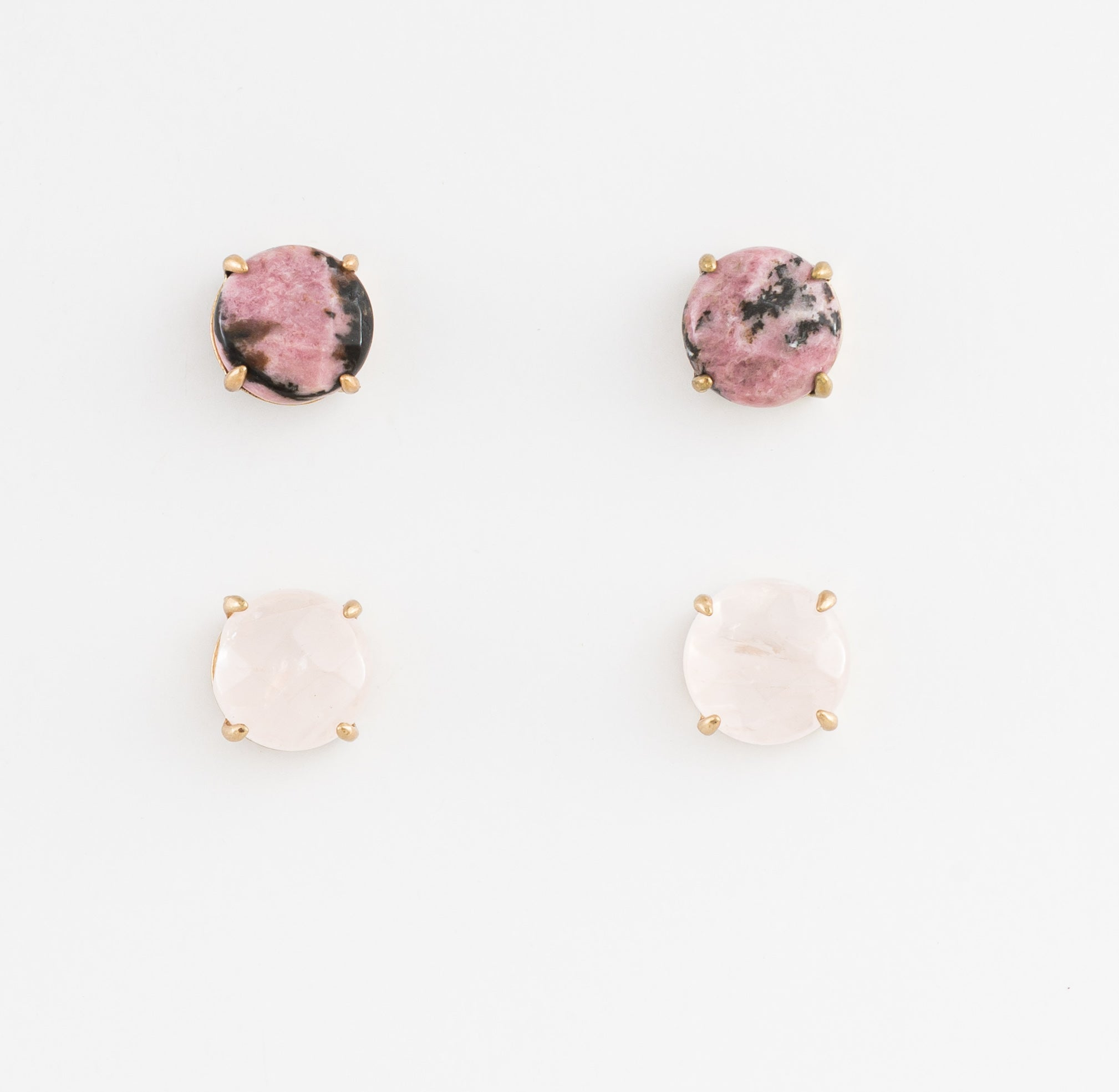 Stella + Gemma Gem Earrings - Rose and Pink