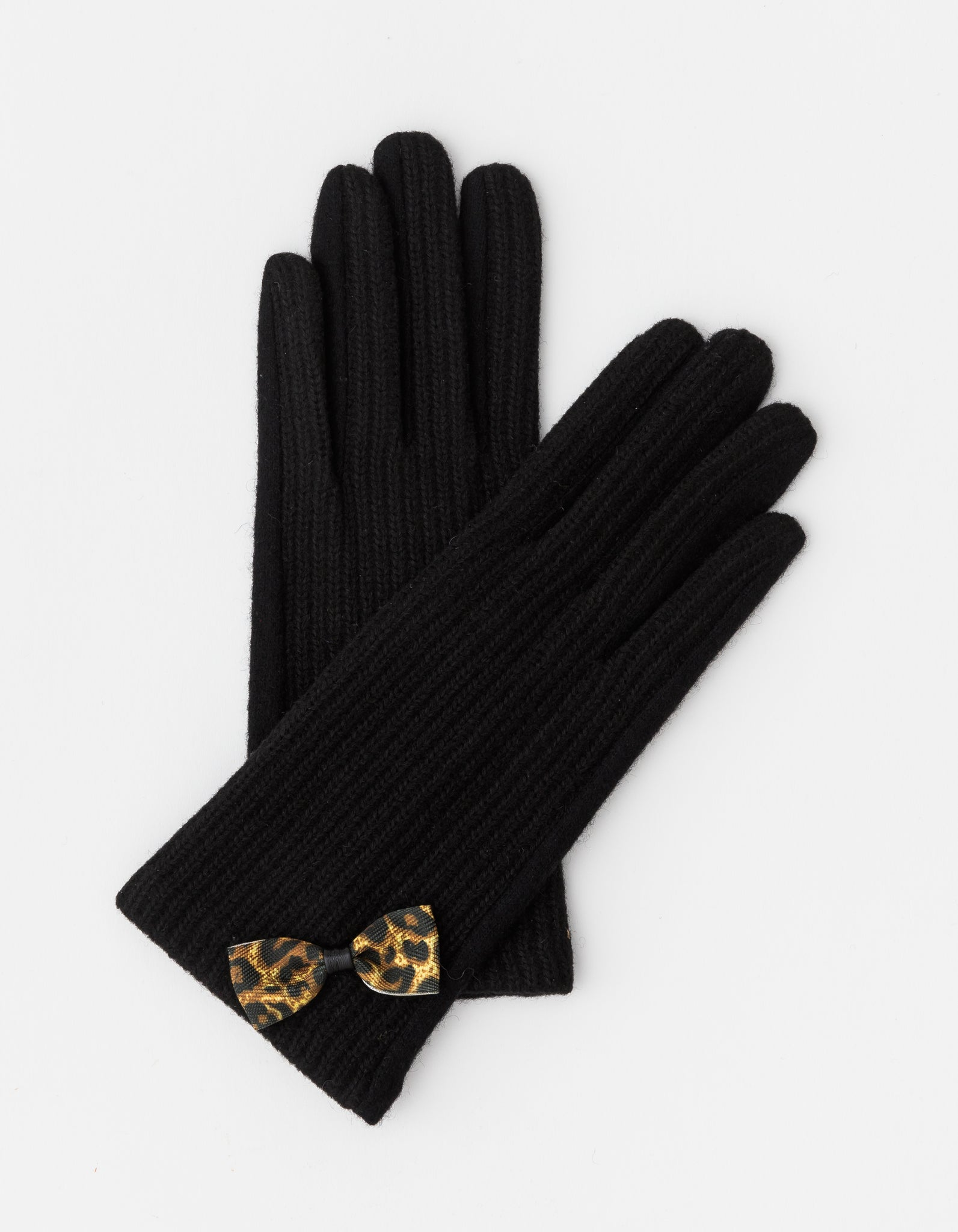 Stella + Gemma Leopard Bow Gloves - Black
