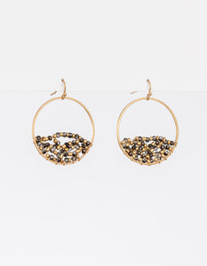 Stella + Gemma Woven Bead  Earrings - Worn Gold