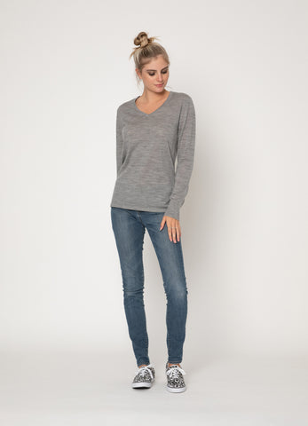 Two By Two V Neck Wool Top | Grey Marle