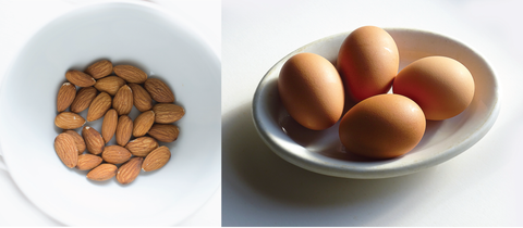 Simple ingredients like almonds & egg whites for macarons