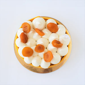 Apricot and tarragon srping cake nut free from Yann Haute Patisserie