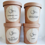 Small batches sorbets, lemon, Lavender Apricot, Exotic & lemon at Yann Haute Patisserie French Bakery Calgary