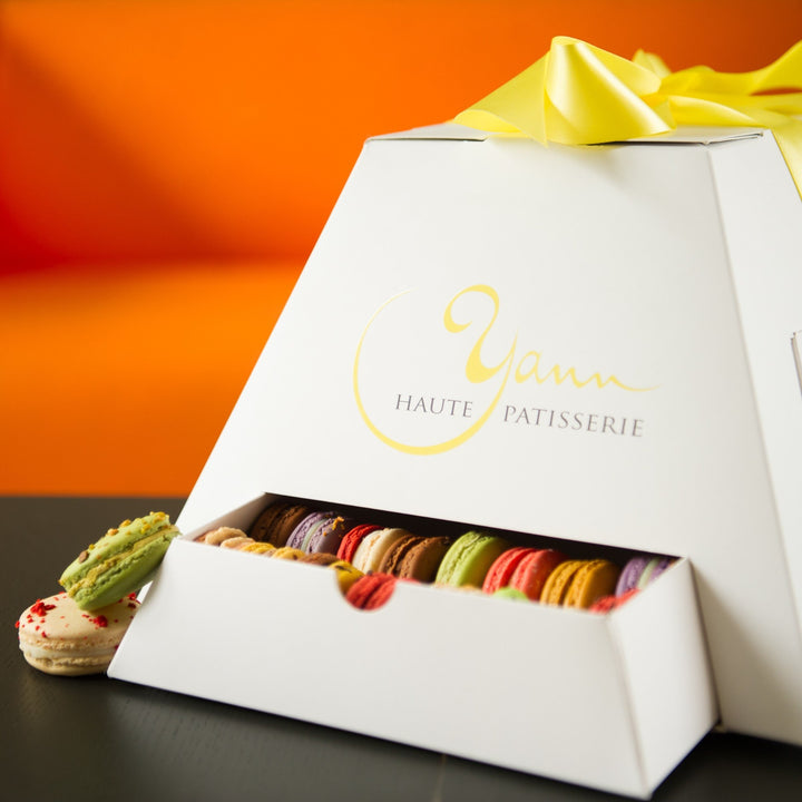 A pyramid of macarons for the best present ever from Yann Haute Patisserie!