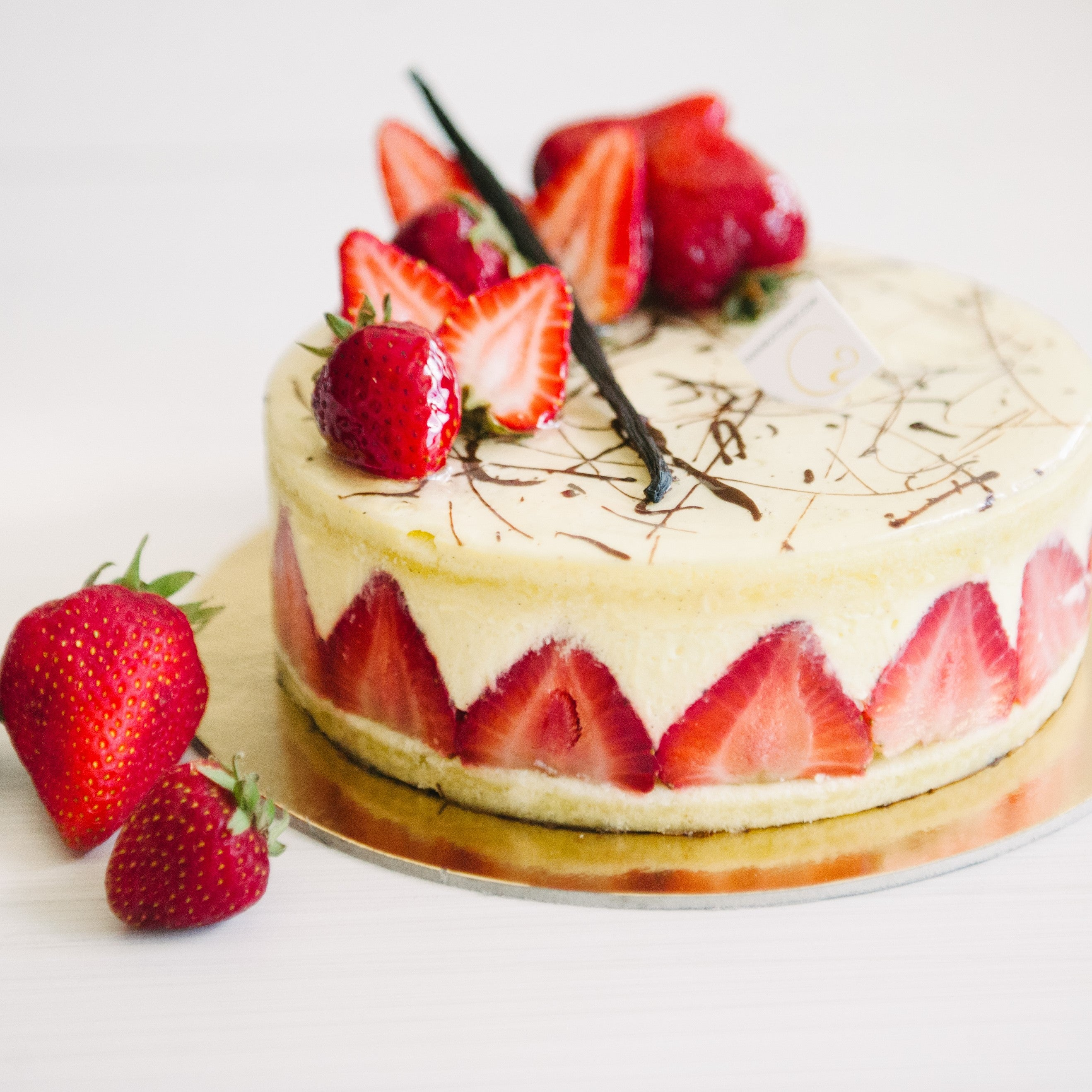 Fraisier cake for July is the best of strawberries and vanilla, best choice of Calgary!
