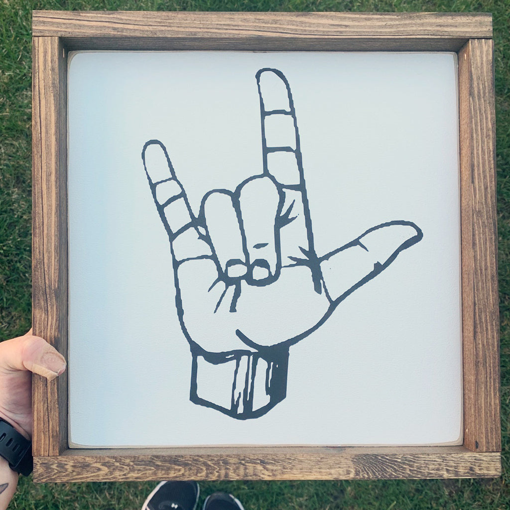 ASL, I Love You Wooden Sign | 12 x 12